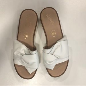 White slide on sandals